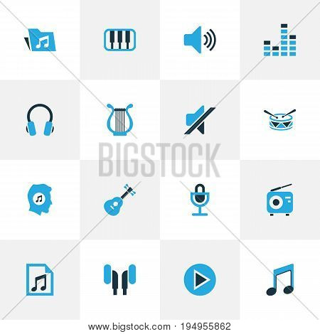Multimedia Colorful Icons Set. Collection Of Headphone, Play, Mute And Other Elements. Also Includes Symbols Such As Silent, Instrument, Earmuff.