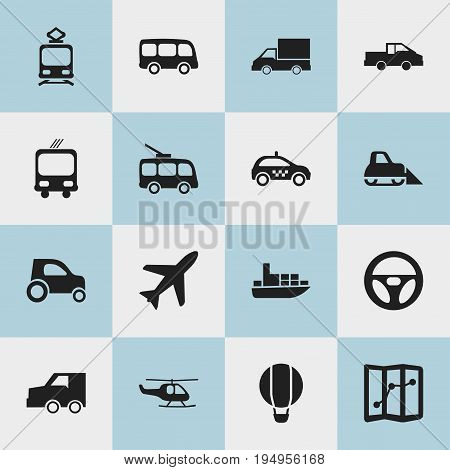 Set Of 16 Editable Transport Icons. Includes Symbols Such As Tramcar, Transportation, Airship And More. Can Be Used For Web, Mobile, UI And Infographic Design.