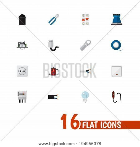 Set Of 16 Editable Electric Icons. Includes Symbols Such As Wire, Cable, Rosette And More. Can Be Used For Web, Mobile, UI And Infographic Design.