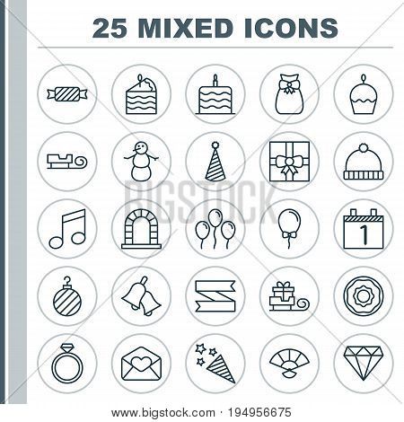 New Icons Set. Collection Of Air Ball, Brilliant, Balloon And Other Elements. Also Includes Symbols Such As Greeting, Sack, Banner.