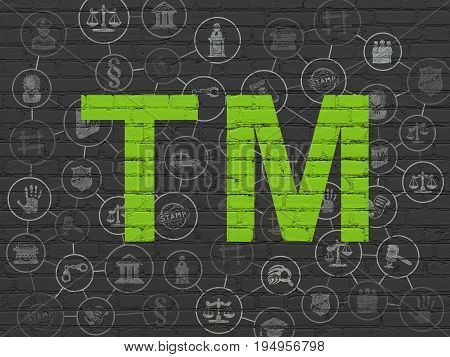 Law concept: Painted green Trademark icon on Black Brick wall background with Scheme Of Hand Drawn Law Icons