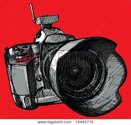 Vektor-Illustration von professionellen Digitalkamera (Hand-Zeichnung)
