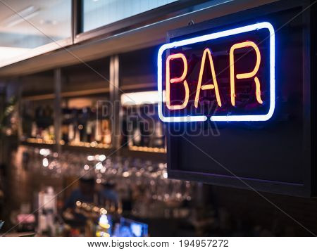 Bar signage Lights neon sign Blur bar counter shelf