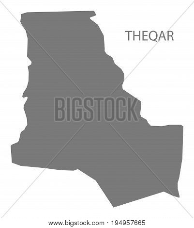 Theqar Iraq map grey illustration silhouette shape