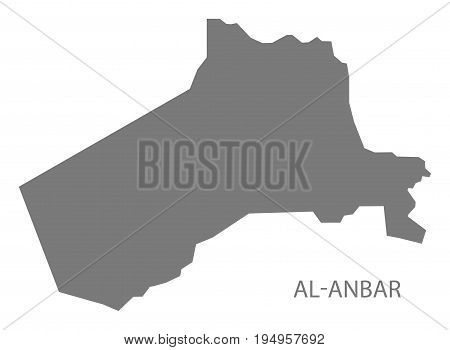 Al-anbar Iraq map grey illustration silhouette shape