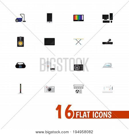 Set Of 16 Editable Home Icons. Includes Symbols Such As Screen, Palmtop, Tuner And More. Can Be Used For Web, Mobile, UI And Infographic Design.