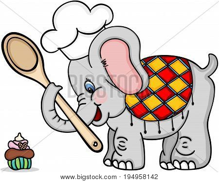 Scalable vectorial image representing a chef cook elephant, isolated on white.