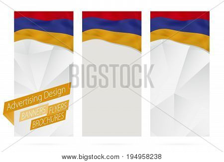 Design Of Banners, Flyers, Brochures With Flag Of Armenia.