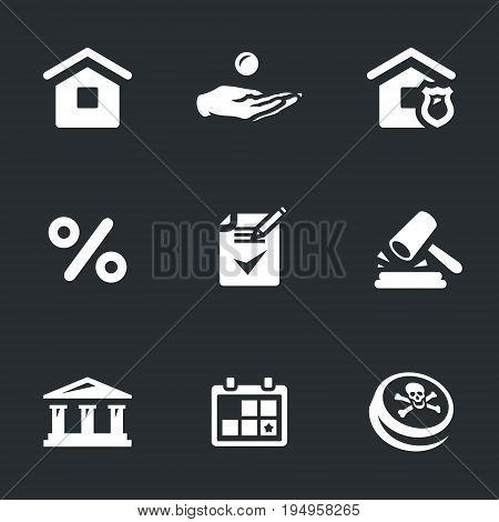 House, loan, mortgage, interest, contract, court, bank, calendar, black mark.