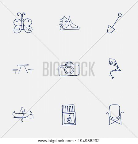 Set Of 9 Editable Travel Icons. Includes Symbols Such As Shovel, Boat, Flammable Stick And More. Can Be Used For Web, Mobile, UI And Infographic Design.