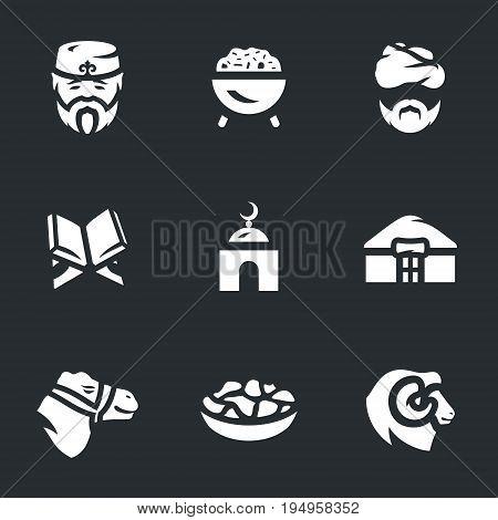 Muslim, pilaf, imam, koran, mosque, yurt, camel, food, ram.