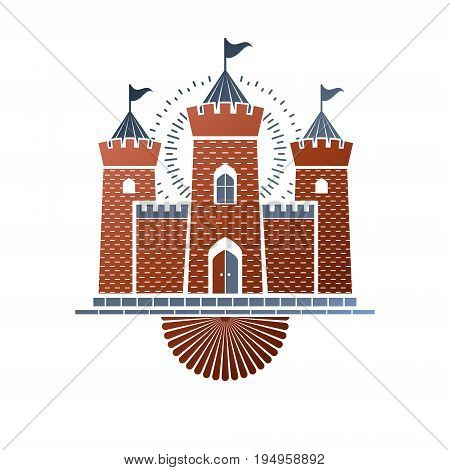 Old castle decorative isolated vector illustration. Ancient Castle ornate logo in old style on white background.