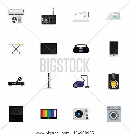 Set Of 16 Editable Tech Icons. Includes Symbols Such As Modem, Palmtop, Cassette Player And More. Can Be Used For Web, Mobile, UI And Infographic Design.