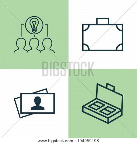 Corporate Icons Set. Collection Of Calling Card, Portfolio, Document Suitcase And Other Elements. Also Includes Symbols Such As Idea, Document, Suitcase.