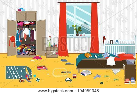 Messy room where young family with little baby lives. Untidy room. Cartoon mess in the room. Uncollected toys things. Cleaning illustration. Vector