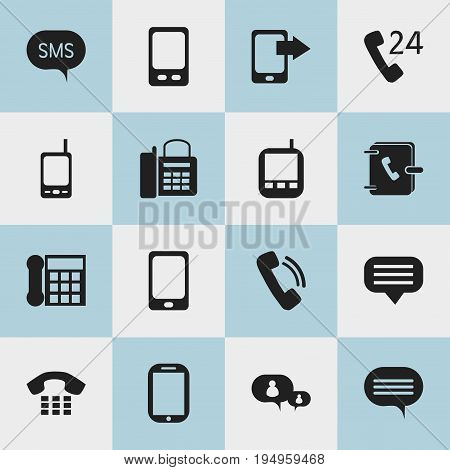 Set Of 16 Editable Phone Icons. Includes Symbols Such As Message, Radio Talkie, Office Telephone And More. Can Be Used For Web, Mobile, UI And Infographic Design.