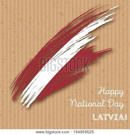 Latvia Independence Day Patriotic Design. Expressive Brush Stroke In National Flag Colors On Kraft P