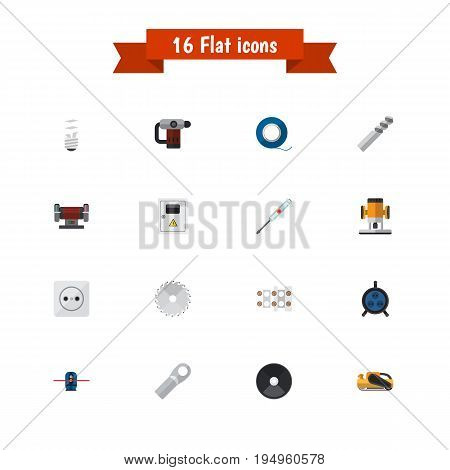 Set Of 16 Editable Electric Icons. Includes Symbols Such As Pound, Receptacle, Lightbulb And More. Can Be Used For Web, Mobile, UI And Infographic Design.