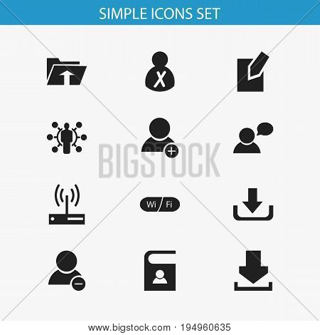 Set Of 12 Editable Web Icons. Includes Symbols Such As Delete Member, Log In, Download And More. Can Be Used For Web, Mobile, UI And Infographic Design.