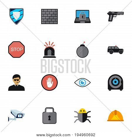 Set Of 16 Editable Procuring Icons. Includes Symbols Such As Close, Barrier, Gun And More. Can Be Used For Web, Mobile, UI And Infographic Design.