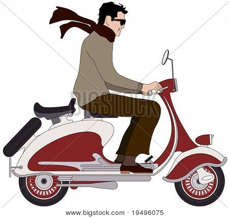 Vector illustration of an Italian boy on a scooter
