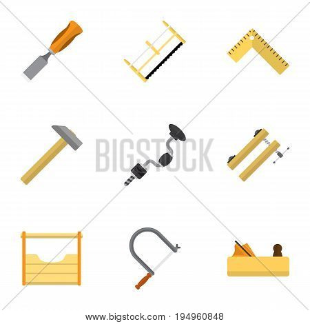 Set Of 9 Editable Tools Icons. Includes Symbols Such As Hacksaw, Boer, Bit And More. Can Be Used For Web, Mobile, UI And Infographic Design.