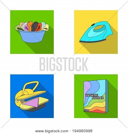 A bowl with laundry, iron, ironing press, washing powder. Dry cleaning set collection icons in flat style vector symbol stock illustration .