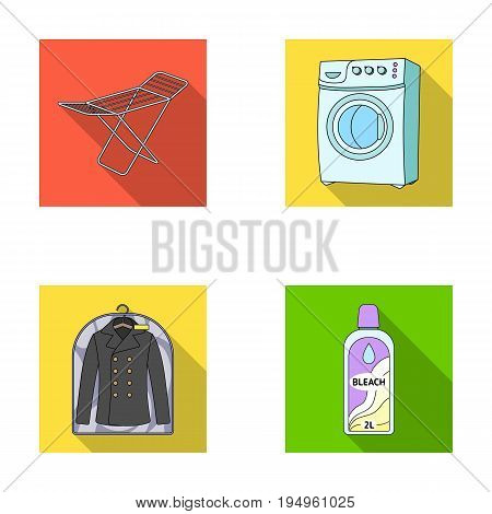 Dryer, washing machine, clean clothes, bleach. Dry cleaning set collection icons in flat style vector symbol stock illustration .