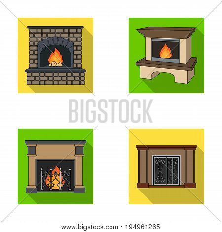 Fire, warmth and comfort.Fireplace set collection icons in flat style vector symbol stock illustration .