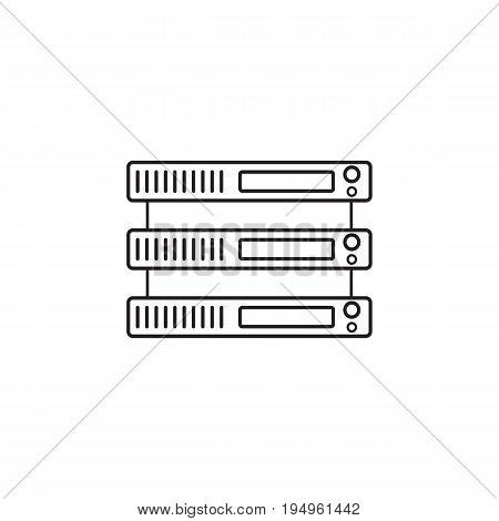 Server line icon, network storage outline vector logo illustration, linear pictogram isolated on white