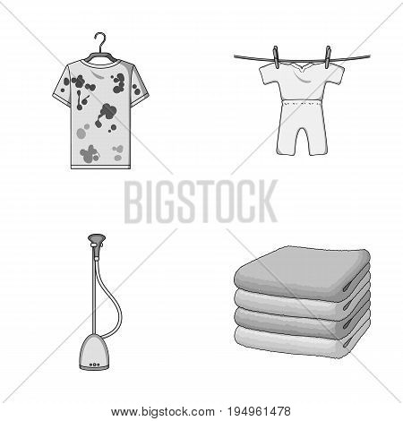 Vacuum cleaner, a stack of cloth, dirty and clean things. Dry cleaning set collection icons in monochrome style vector symbol stock illustration .