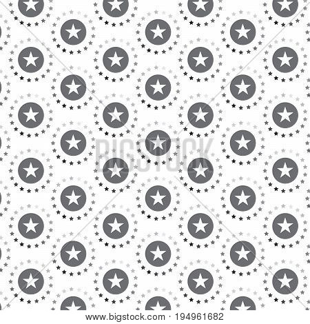 silver shade and white star in circle rotated pattern background vector illustration image