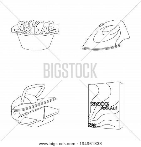 A bowl with laundry, iron, ironing press, washing powder. Dry cleaning set collection icons in outline style vector symbol stock illustration .