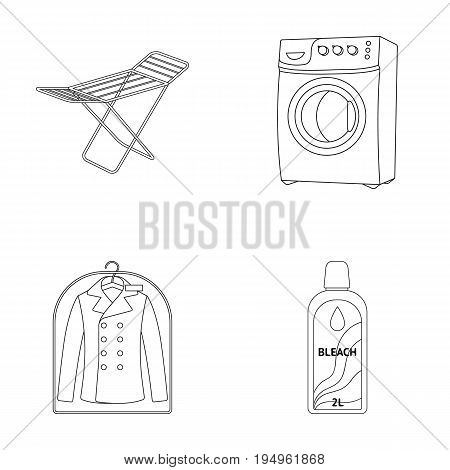 Dryer, washing machine, clean clothes, bleach. Dry cleaning set collection icons in outline style vector symbol stock illustration .
