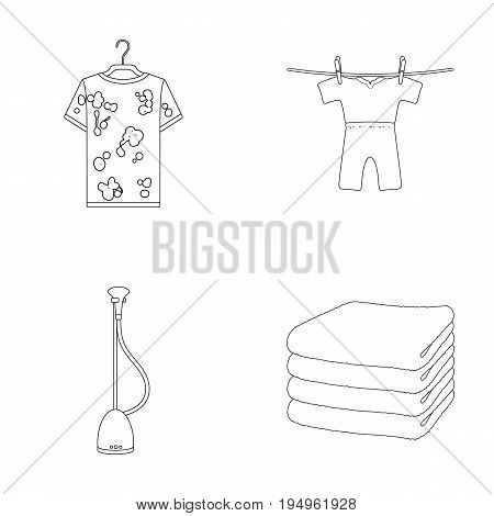 Vacuum cleaner, a stack of cloth, dirty and clean things. Dry cleaning set collection icons in outline style vector symbol stock illustration .