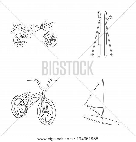 Motorcycle, mountain skiing, biking, surfing with a sail.Extreme sport set collection icons in outline style vector symbol stock illustration .