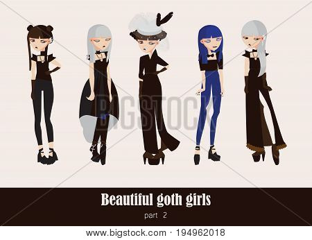 Vector set with isolated on background gothic girls. Goth clothes in dark colors with different accessories various hairstyle and posing. Serious characters.
