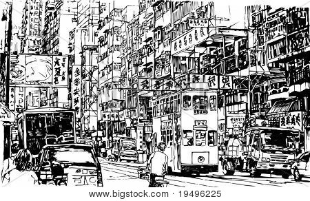 Hand drawing of a street in Hong Kong (vector)