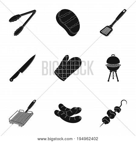 Meat, steak, firewood, grill, table and other accessories for barbecue.BBQ set collection icons in black style vector symbol stock illustration .