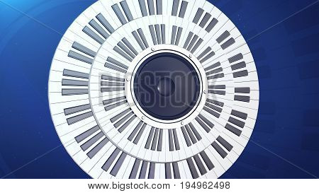 Piano Keys In A Circle Over An Audio Monitor
