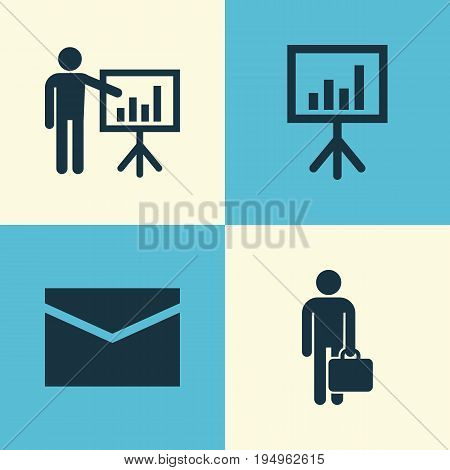 Job Icons Set. Collection Of Envelope, Presentation Board, Presenting Man And Other Elements. Also Includes Symbols Such As Businessman, Envelope, Business.