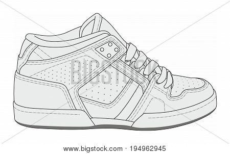 Simple black and white vector illustration of modern stylish sneakers