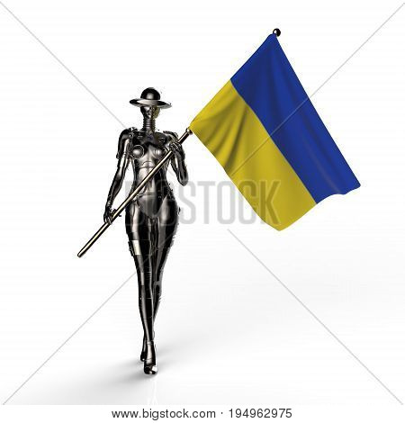 3D illustration. The stylish cyborg the woman with flag of Ukraine. Futuristic fashion android.