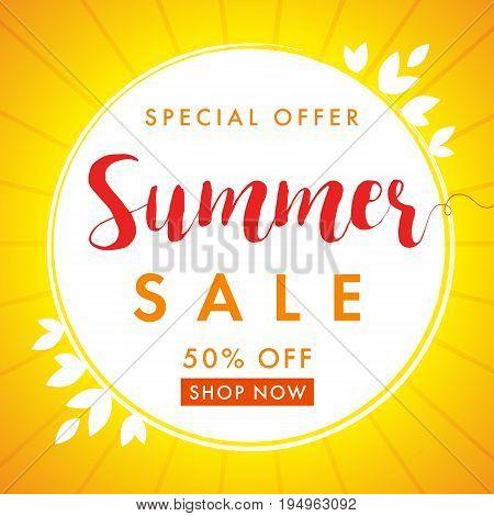 End of Summer Sale banner vector design template discount. Summer sale special offer banner