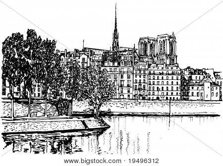 Vector illustration of Paris- Ile de la Cite (hand drawing)