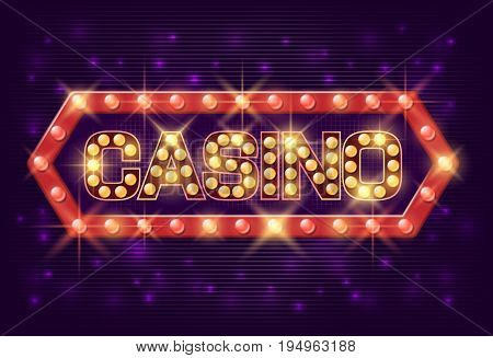 Casino poster vintage style. EPS 10 Casino banner with glowing lamps for online casino, poker, roulette, slot machines, card games. Vector illustrator.