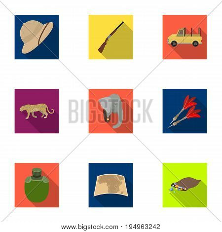 Rifle, mask, map of the territory, diamonds and other equipment. African safari set collection icons in flat style vector symbol stock illustration .