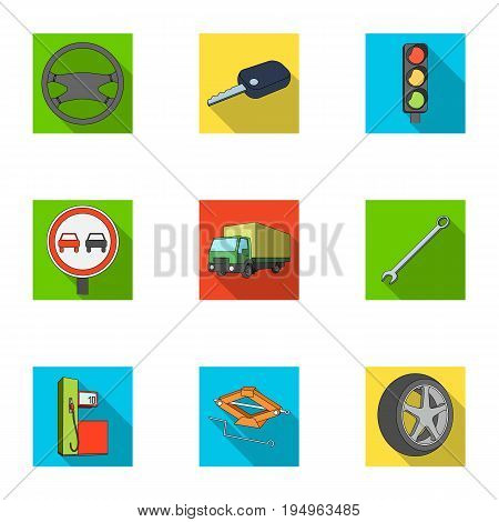 Wheel, wrench, jack and other equipment. Car set collection icons in flat style vector symbol stock illustration .