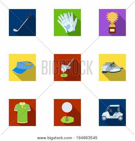 A golfer, a ball, a club and other golf attributes.Golf club set collection icons in flat style vector symbol stock illustration .