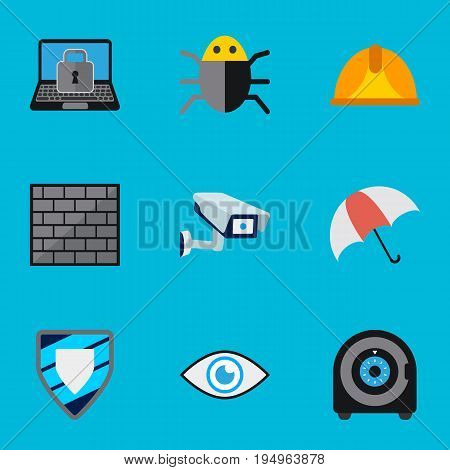 Set Of 9 Editable Safety Icons. Includes Symbols Such As Protection, Security Camera, Lock And More. Can Be Used For Web, Mobile, UI And Infographic Design.